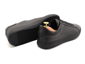 Back View of Mens Leather Low Top Black Sneakers