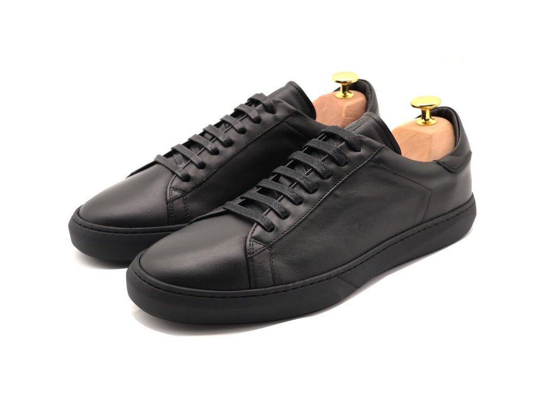 Mens Leather Low Top Black Sneakers