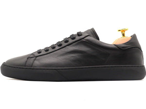Side View of Mens Leather Low Top Black Sneakers