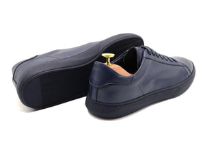 Back View of Mens Leather Low Top Navy Blue Sneakers