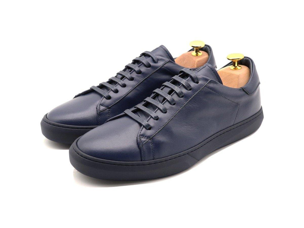 Mens Leather Low Top Navy Blue Sneakers
