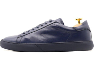 Side View of Mens Leather Low Top Navy Blue Sneakers