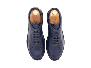 Top View of Mens Leather Low Top Navy Blue Sneakers