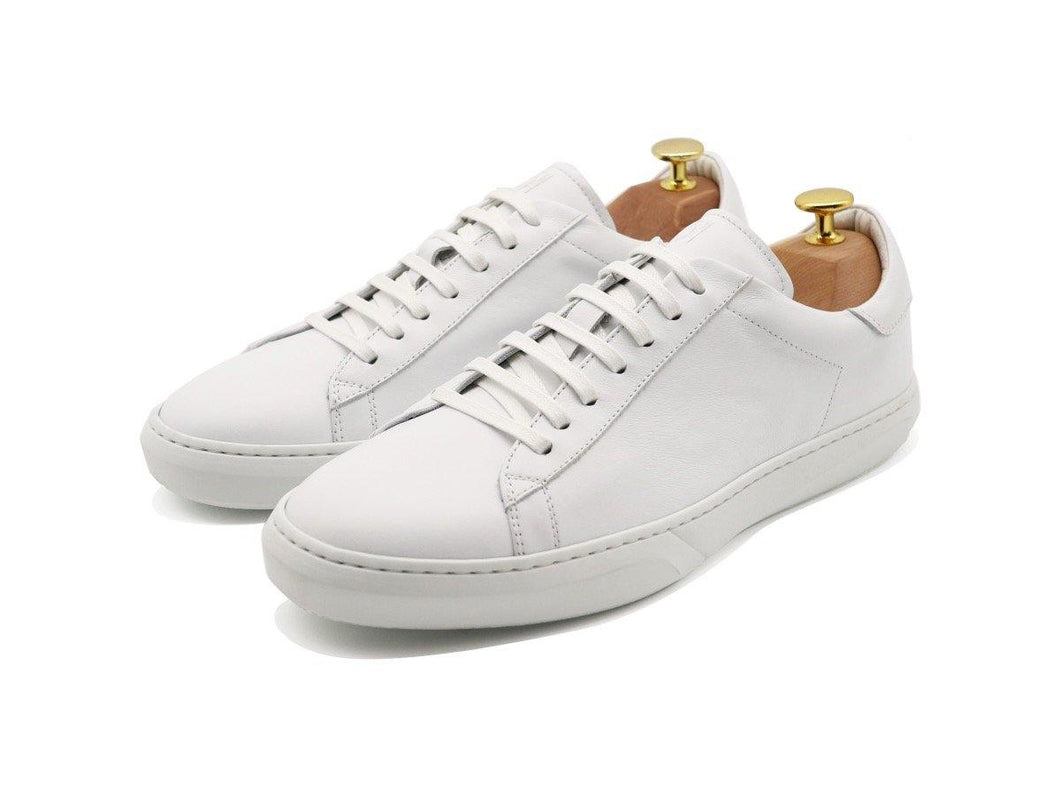 Mens Leather Low Top White Sneakers