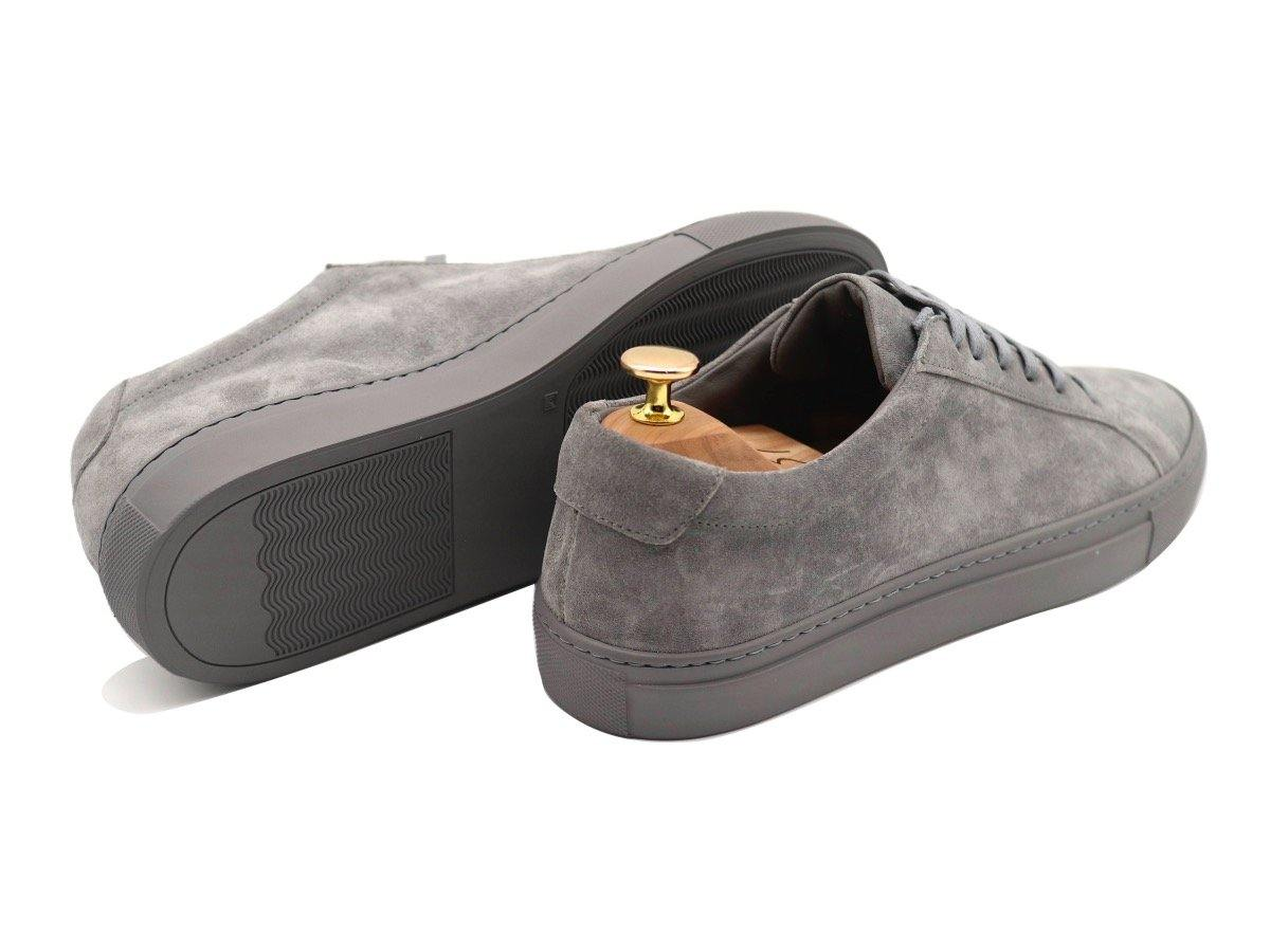 Back View of Mens Suede Low Top Graphite Grey Sneakers