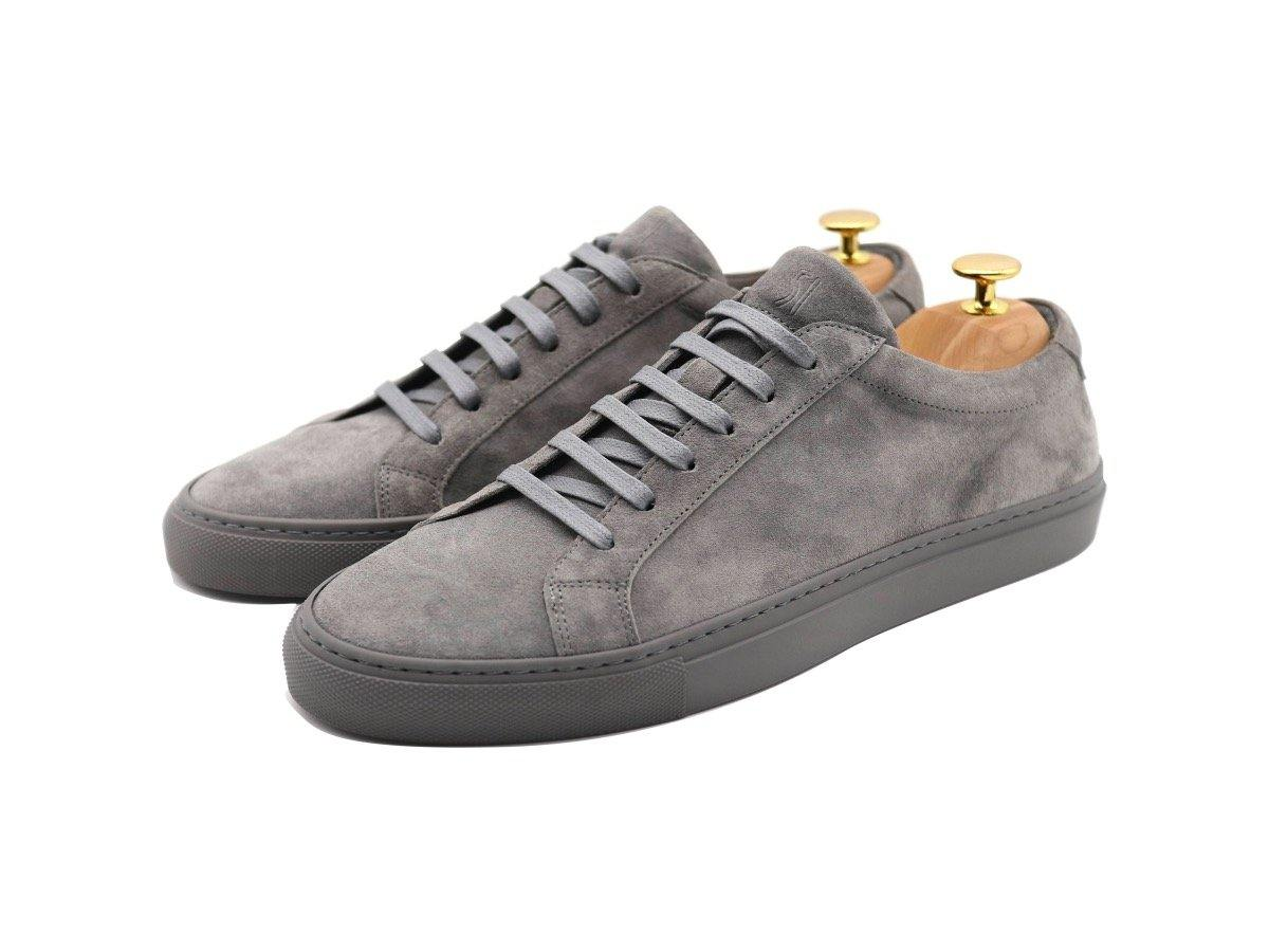 Mens Suede Low Top Graphite Grey Sneakers