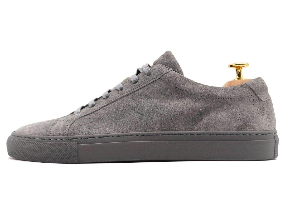 Side View of Mens Suede Low Top Graphite Grey Sneakers