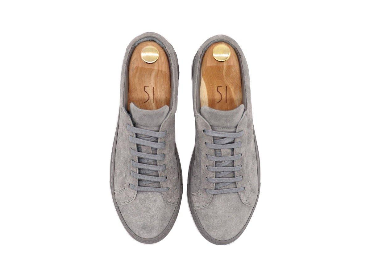 Top View of Mens Suede Low Top Graphite Grey Sneakers