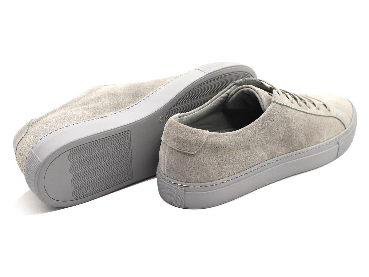 Back View of Mens Suede Low Top Shale Grey Sneakers
