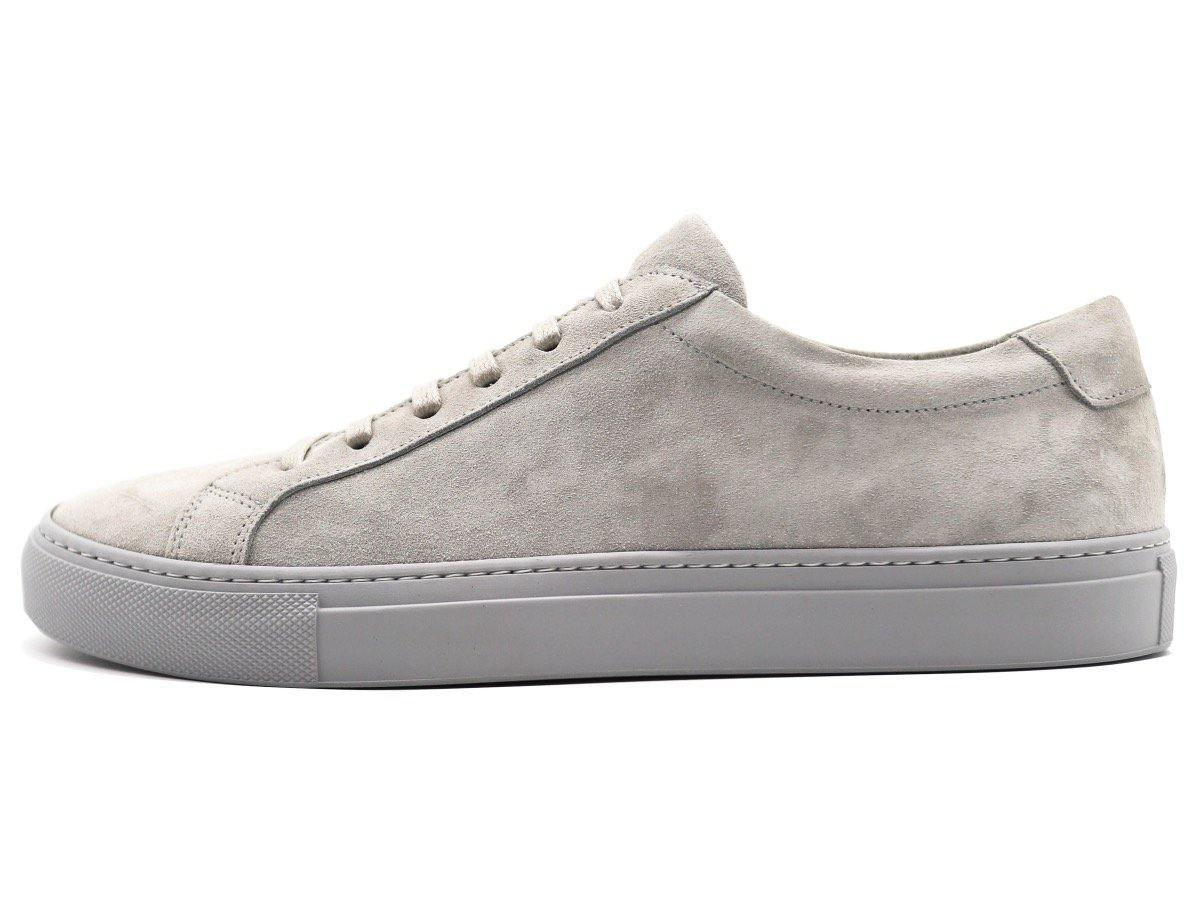 Side View of Mens Suede Low Top Shale Grey Sneakers
