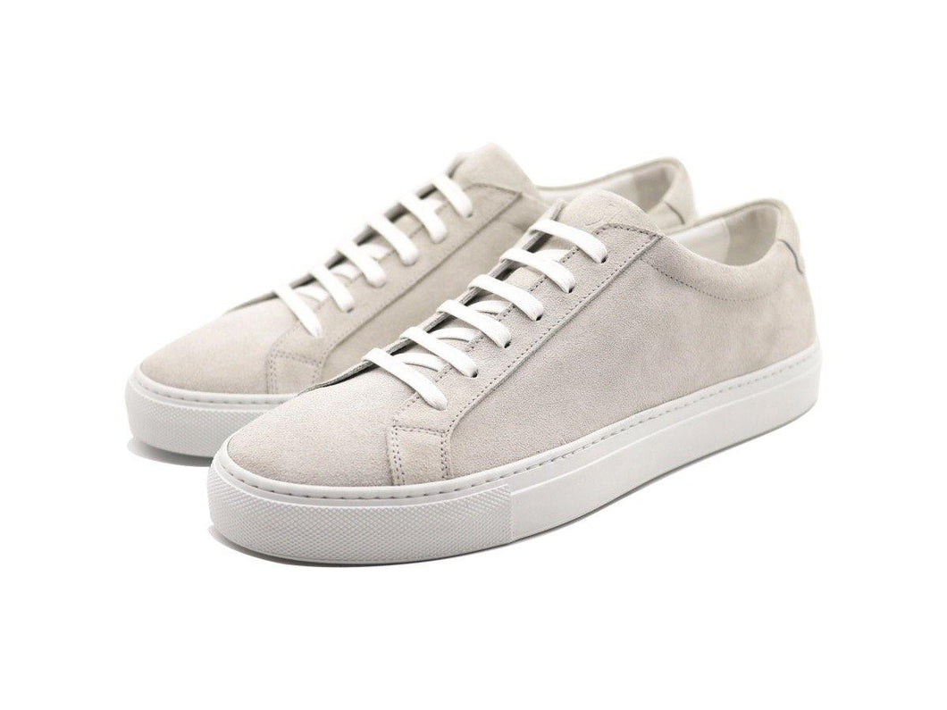 Mens Suede Low Top Yogurt White Sneakers