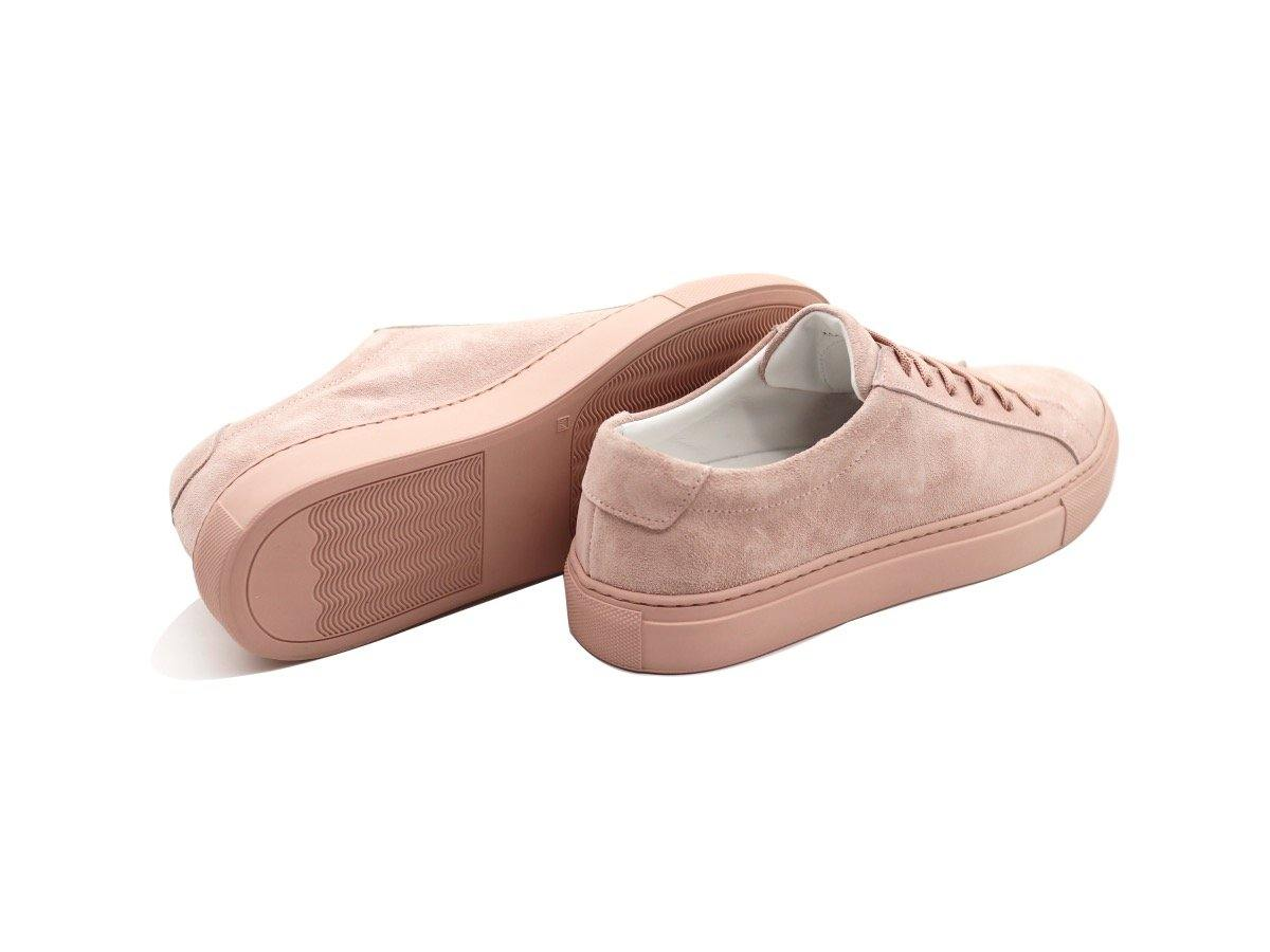 Back View of Womens Suede Low Top Skin Pink Sneakers