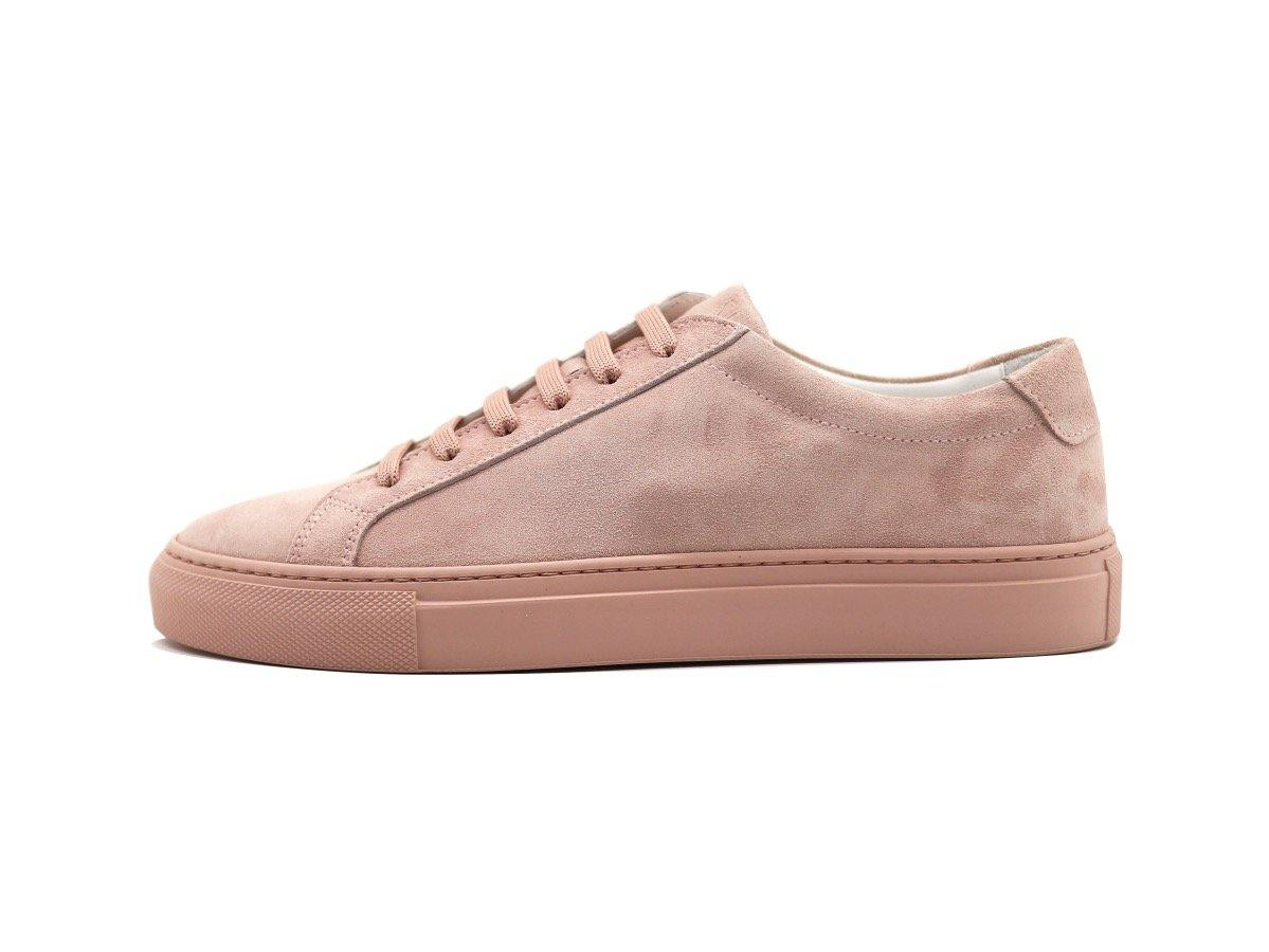 Side View of Womens Suede Low Top Skin Pink Sneakers