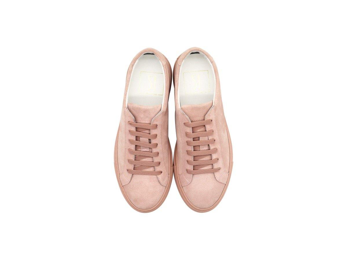 Top View of Womens Suede Low Top Skin Pink Sneakers