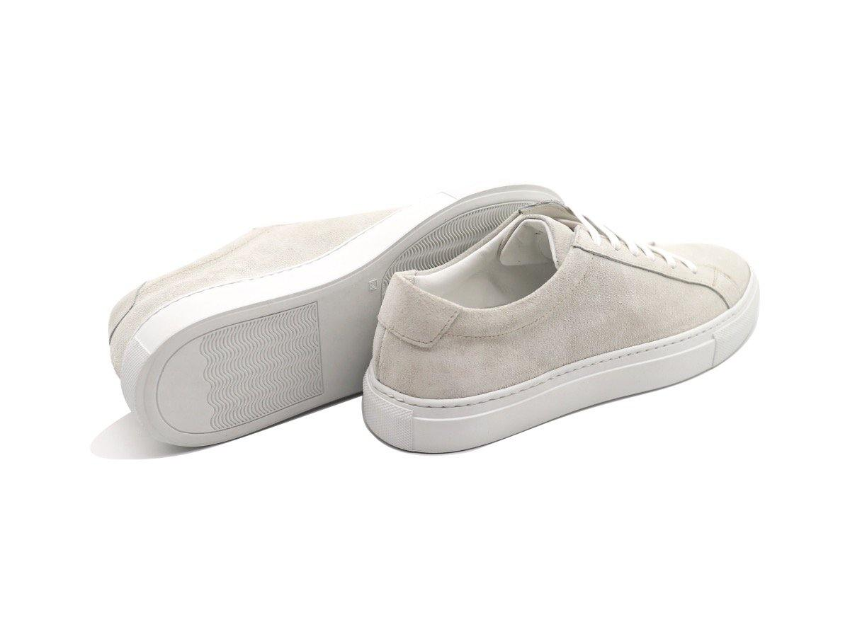 Back View of Womens Suede Low Top Yogurt White Sneakers