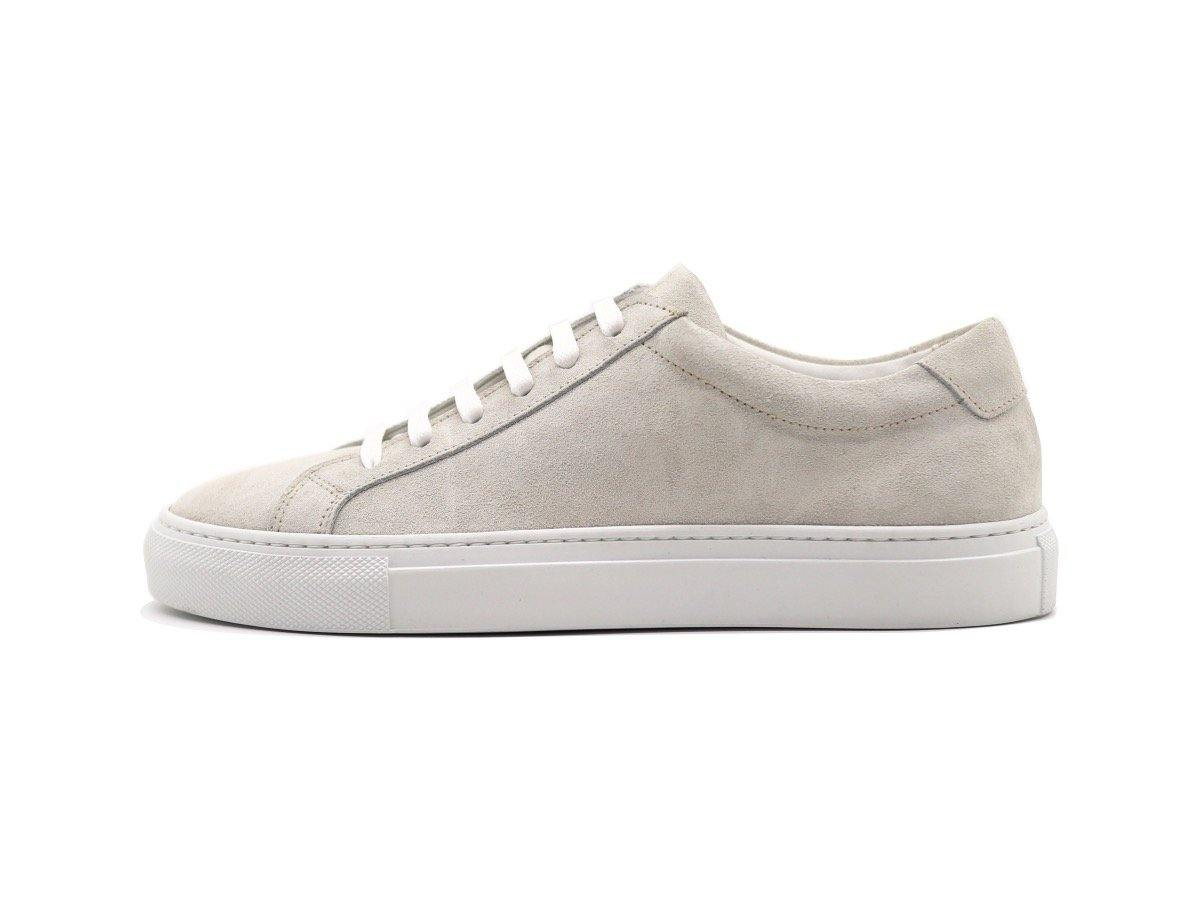 Side View of Womens Suede Low Top Yogurt White Sneakers