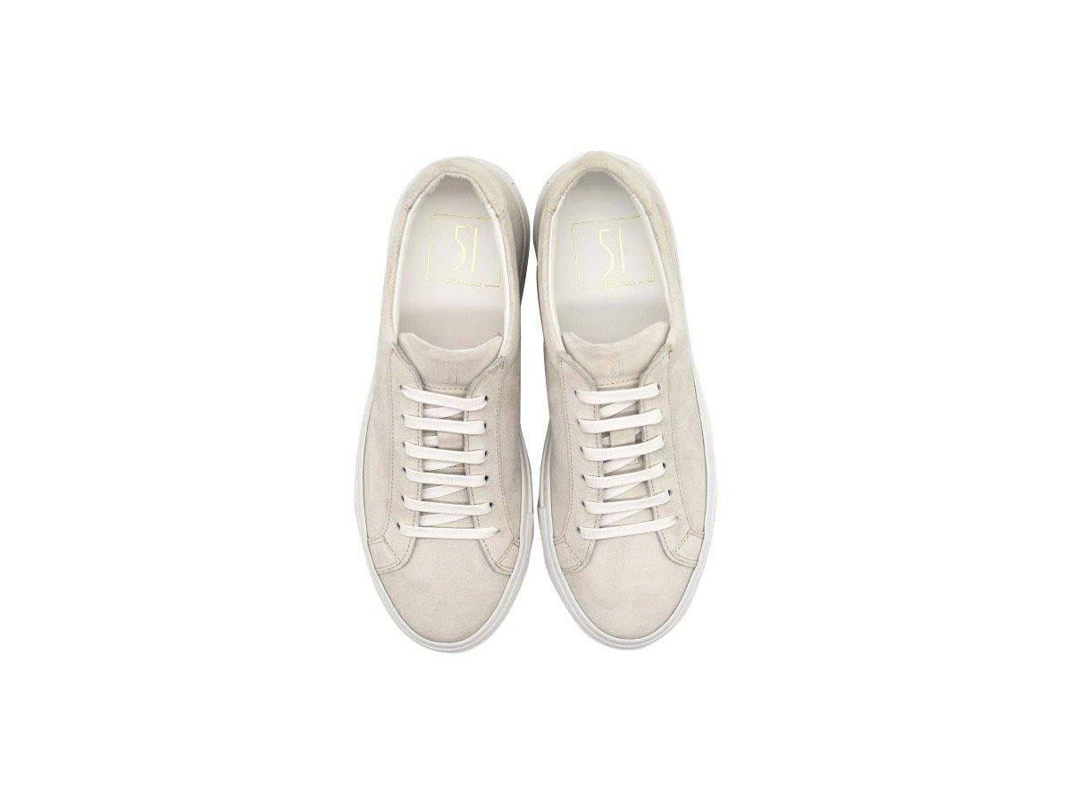 Top View of Womens Suede Low Top Yogurt White Sneakers