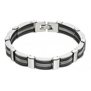 Stainless steel men's bracelet with black lines