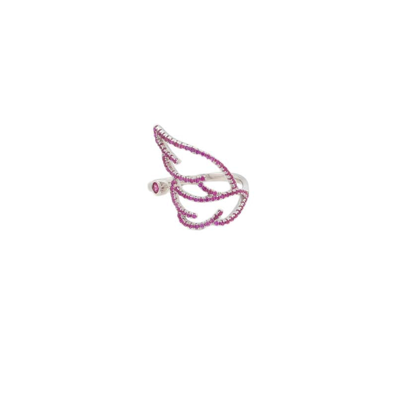 Sterling silver leaf ring with pink zirgonia