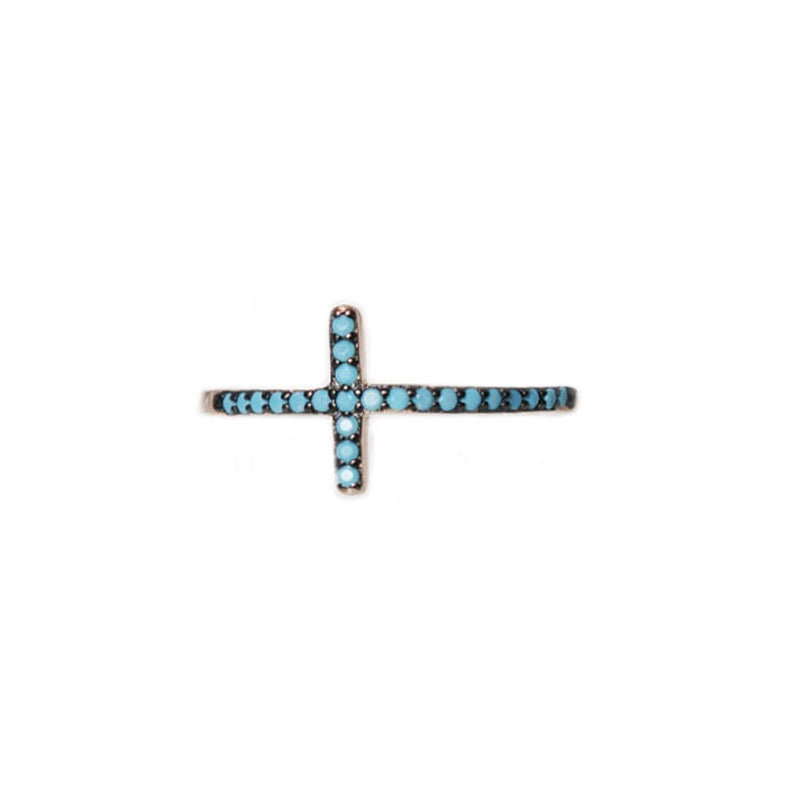 Sterling silver cross with tirquoise zirgonia