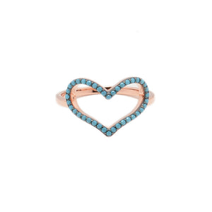 Sterling silver heart ring with tirquoise zirgonia
