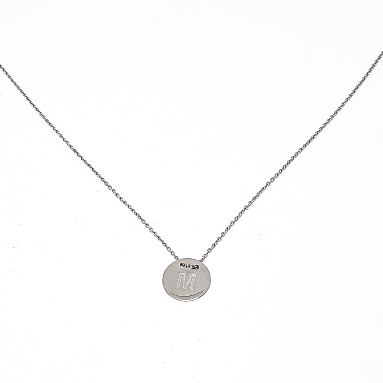 Personalised Sterling Silver Round Monogram Necklace