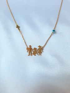 Personalised Familly with dog gold 14k