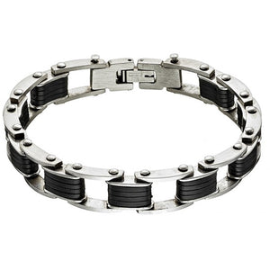Stainless Steel with  Black rectangles Bracelet
