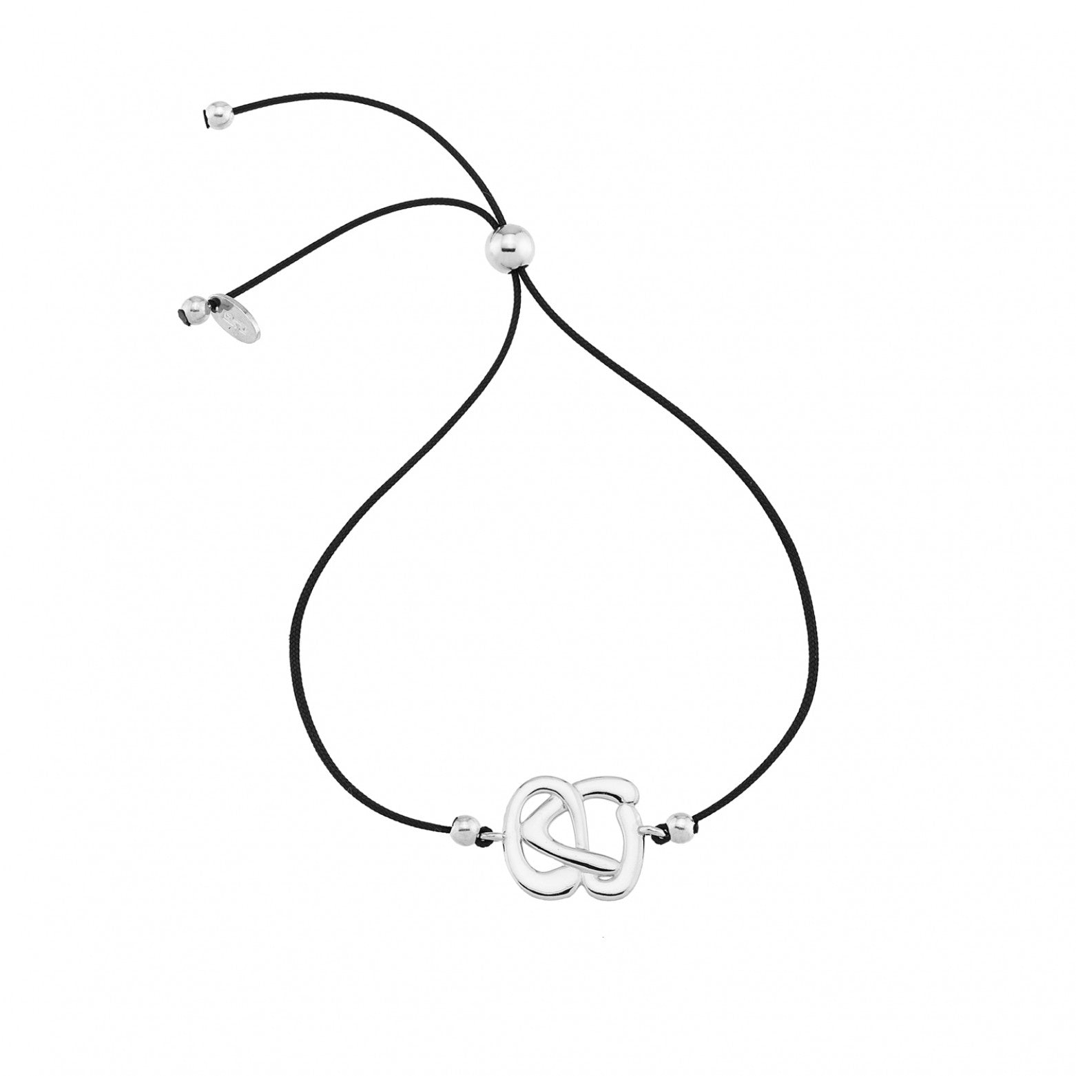 Sterling Silver 925o Abstruct 21 Lucky Charm on cord Bracelet