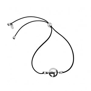 Sterling Silver 925o Circle Lucky Charm 21 Cord Bracelet