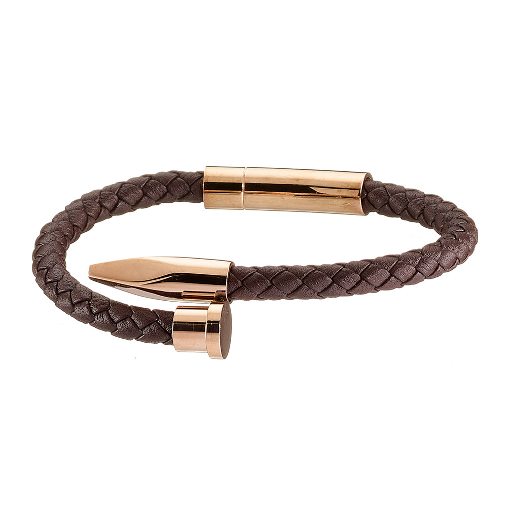 Brown Leather Bracelet with Stainless Steel Rose Plated Details