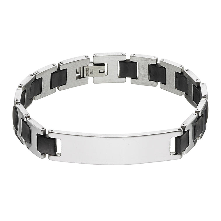 Stainless Steel Men's Bracelet with Black Rubber