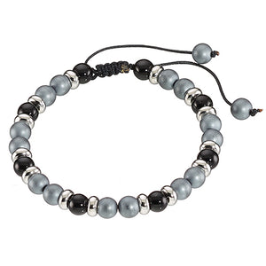 Stainless Steel Hematite Bracelet with Adjustable Cord