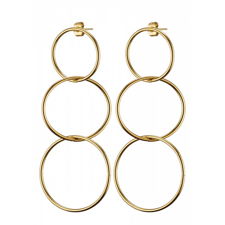 Stainless Steel 3 Circles Hanging Earrings