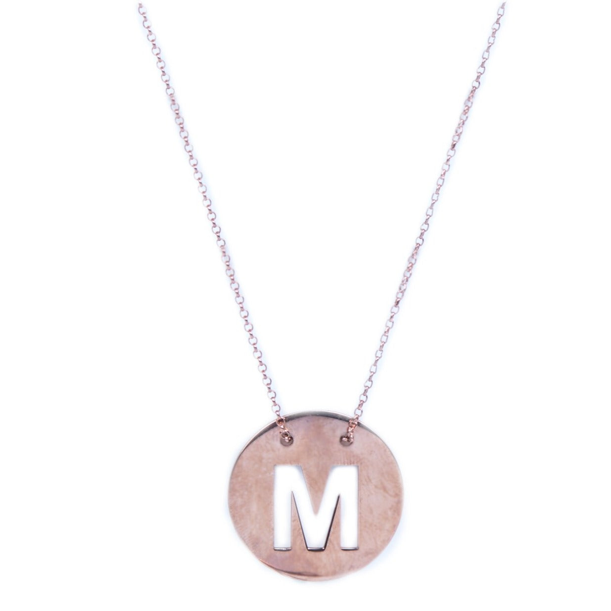 Personalised Sterling Silver Round Necklace with Monogram