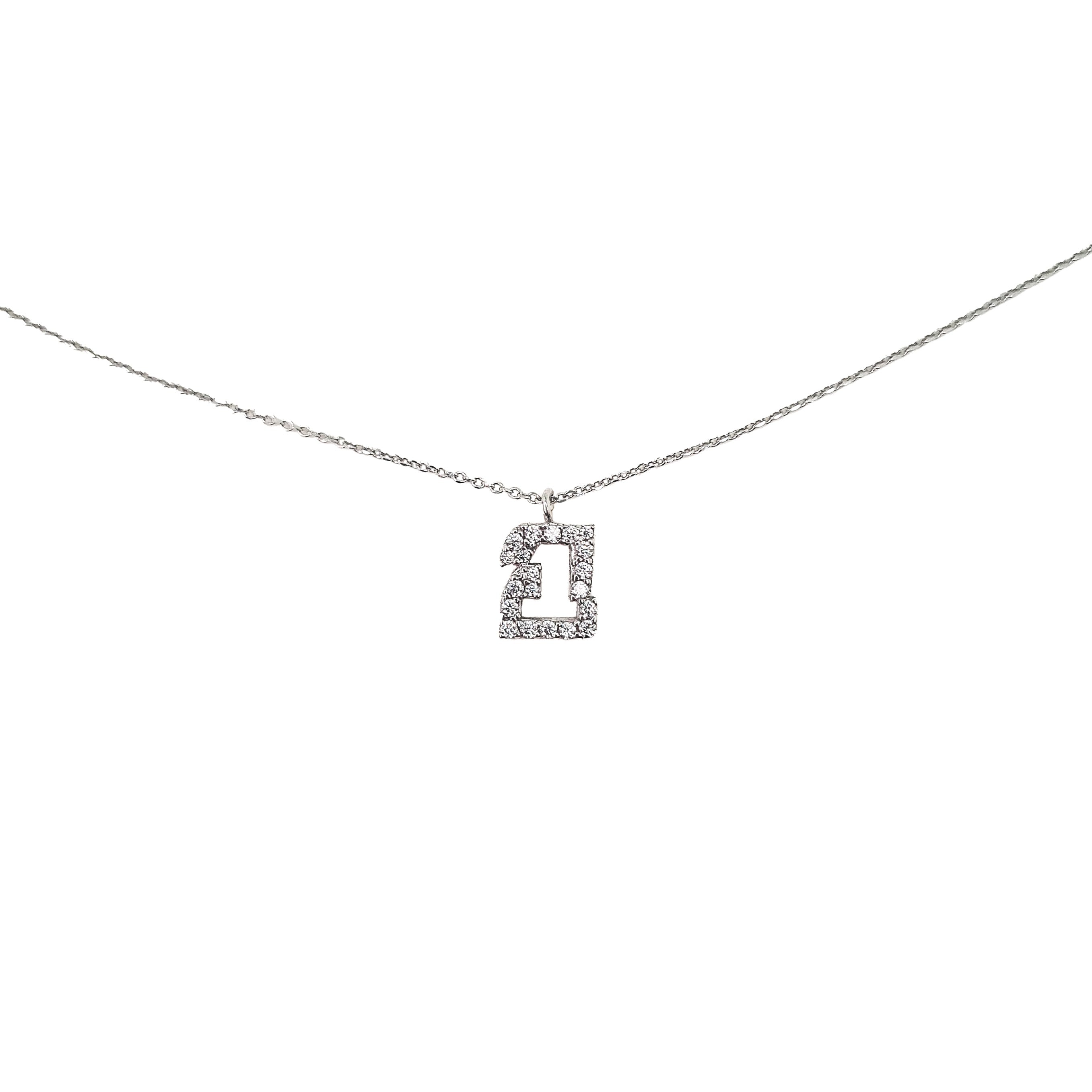 Sterling Silver 925o Lucky Charm 21 Necklace