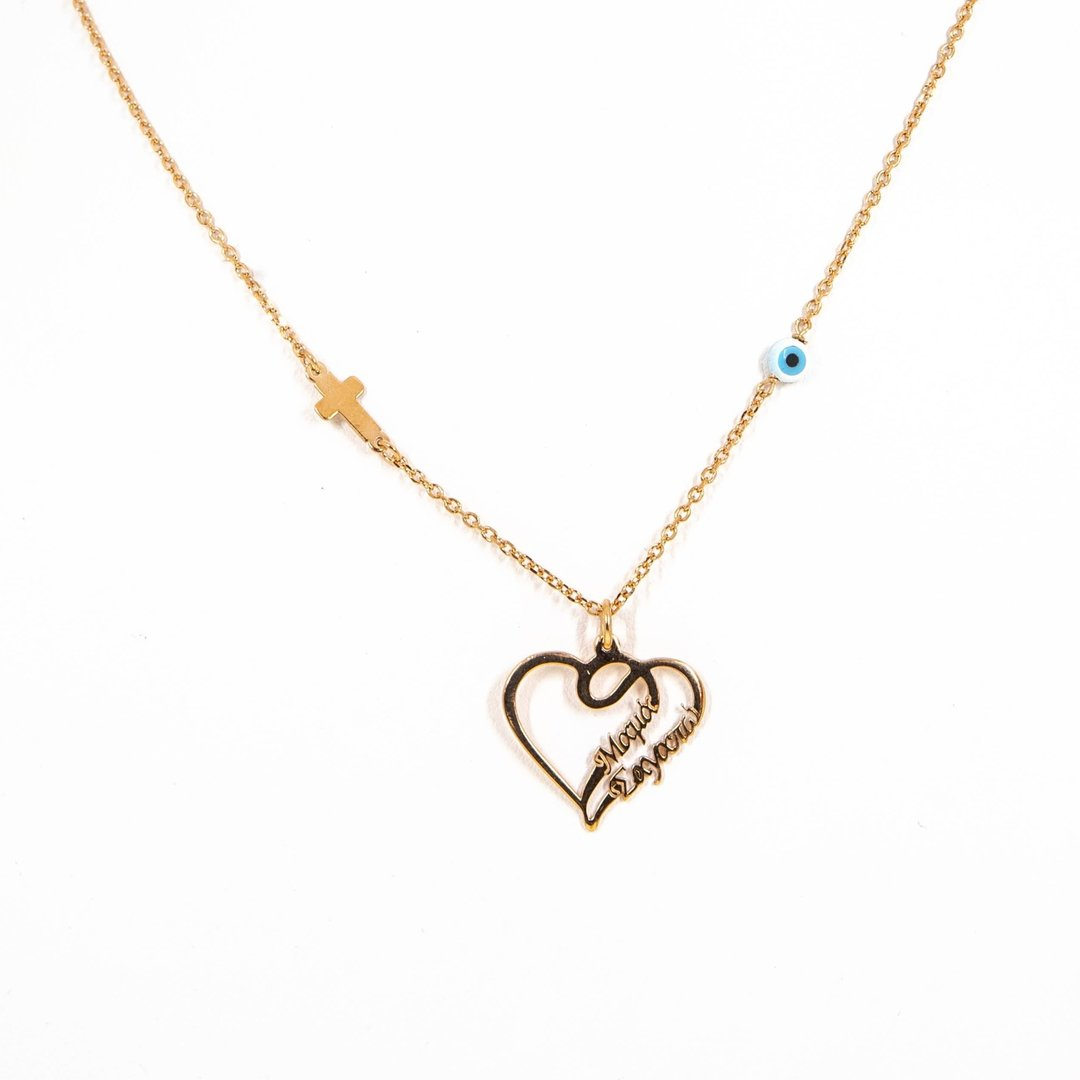 Sterling Silver Heart Necklace Μαμα σαγαπω