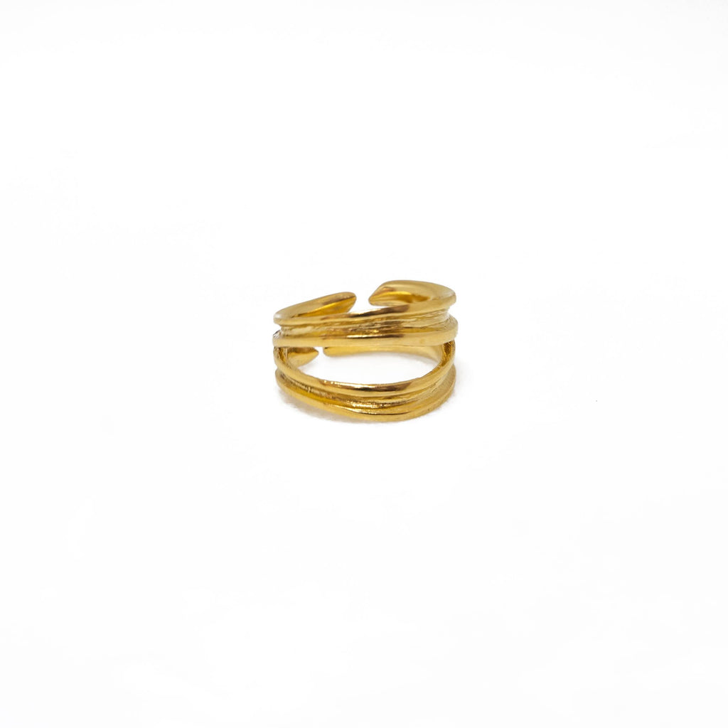 Brass ring chevalier double lines in yellow