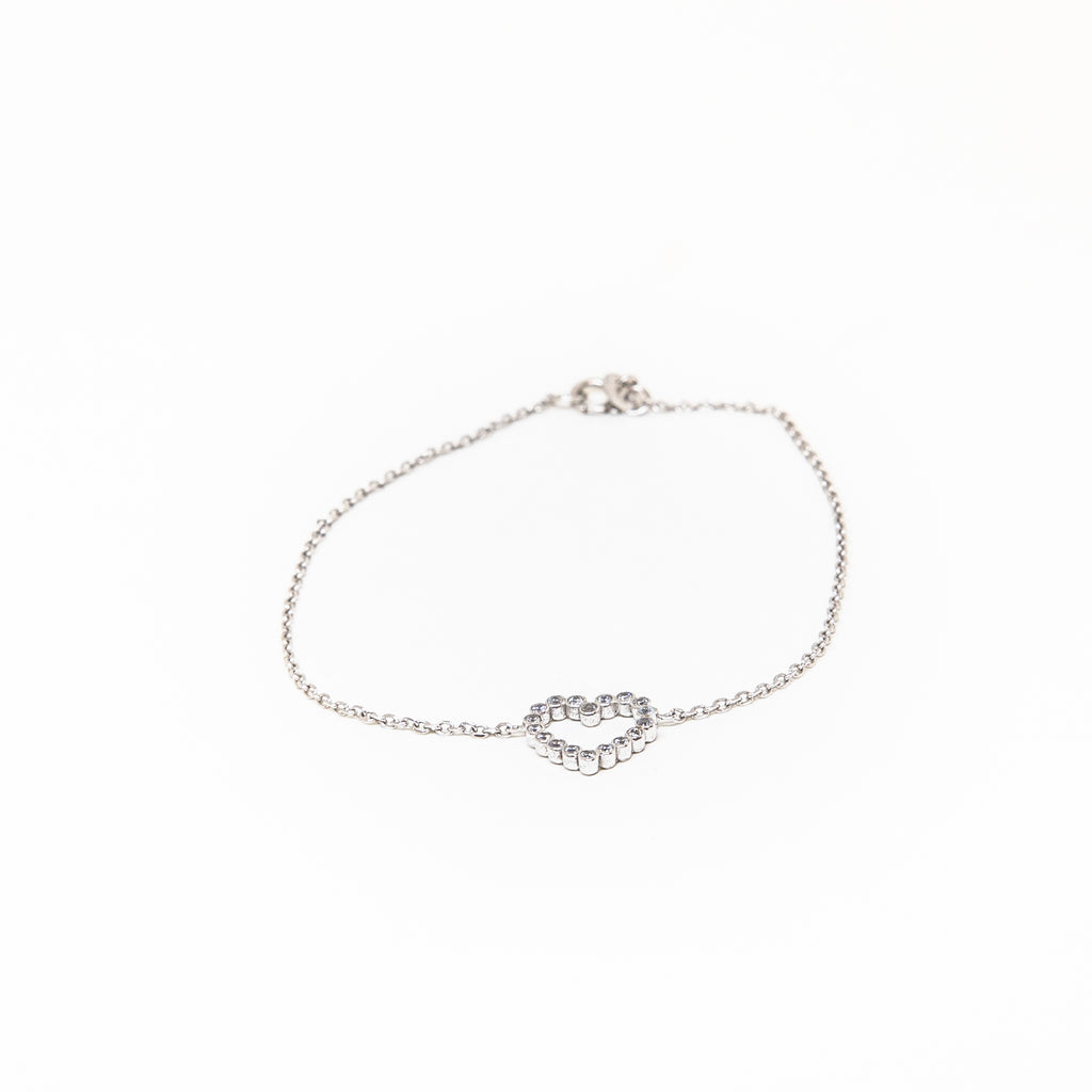 9k white gold heart bracelet