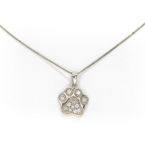 Sterling Silver 925o Paw Necklace with cubic zirgonia