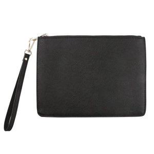 Black - Small Saffiano Pouch | Personalise | TheImprint Singapore