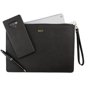 Black - Large Saffiano Pouch | Personalise | TheImprint Singapore
