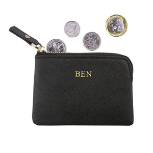 Black - Saffiano Coin Pouch | Personalise | TheImprint Singapore