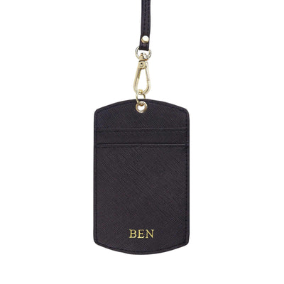 Black Saffiano ID Cardholder Lanyard | Personalise | TheImprint Singapore