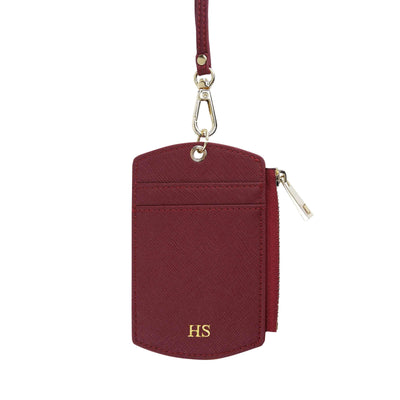 Burgundy - Saffiano ID Cardholder Lanyard with Zip | Personalise | TheImprint Singapore