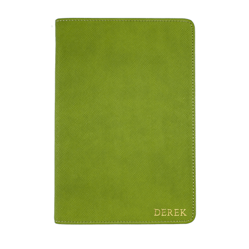 Olive Green - Saffiano Leather A5 Notebook | Personalise | TheImprint Singapore