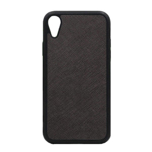 Black - iPhone XR Saffiano Phone Case | Personalise | TheImprint Singapore