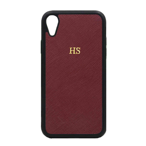 Burgundy - iPhone XR Saffiano Phone Case | Personalise | TheImprint Singapore