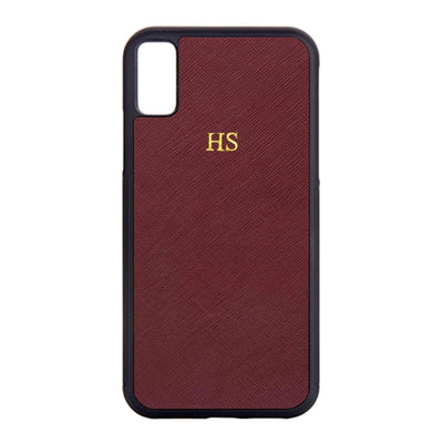 Burgundy - iPhone X / iPhone XS Saffiano Phone Case | Personalise | TheImprint Singapore