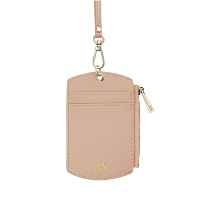 Nude - Saffiano ID Cardholder Lanyard with Zip | Personalise | TheImprint Singapore
